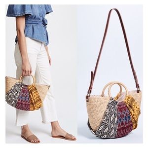SAM EDELMAN Jaelynn Aztec Straw Crossbody Tote Bag